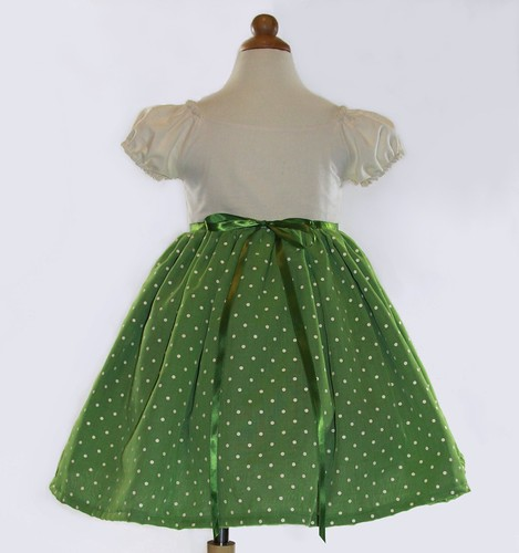 Green Party Dress Polka Dot Organza Tea Party