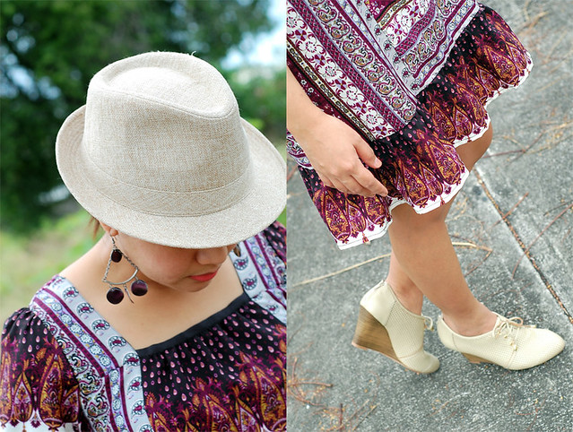 a dress a hat and oxford wooden wedges