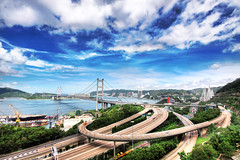 Tsing Ma Bridge (cozyta) Tags: ocean road street city travel bridge blue light sky urban motion blu