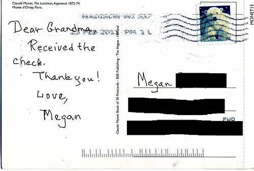 Written on a postcard addressed TO Megan:
