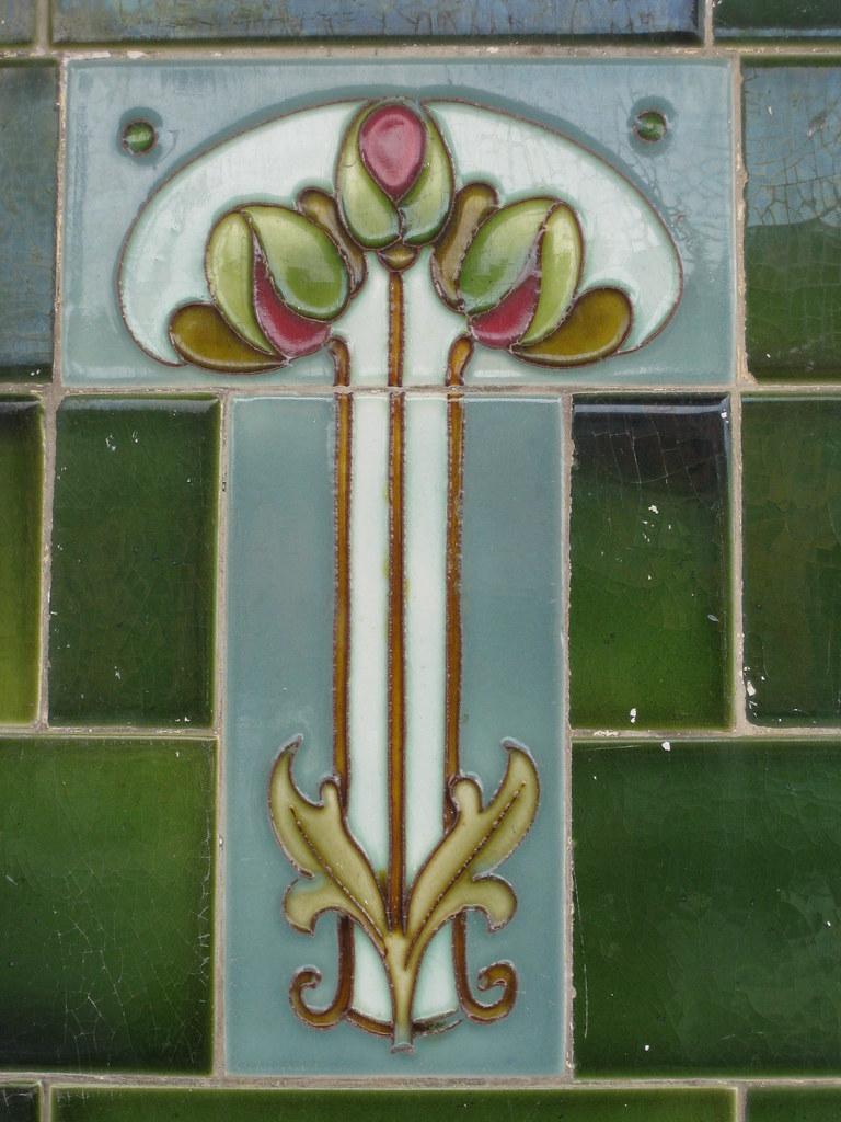 Art Nouveau Shop Front Tile of a Rose Bouquet