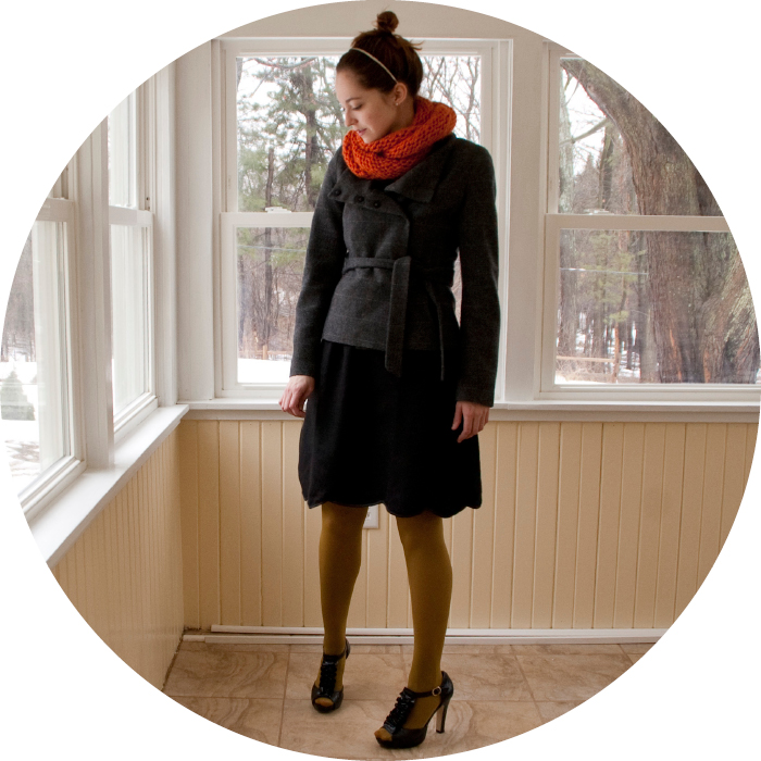 eshakti dress wool black lbd scallops ruffles t-strap orange cowl knit green bun dotty style blog modest felted