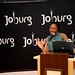 Lindiwe Kwele, chief executive of the Johannesburg Tourism Company, entertains crowds at ITB Berlin