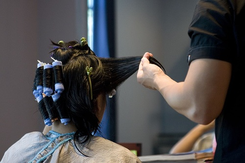 asian woman getting a perm