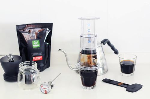 Aerobie Aeropress + Hario Skerton grinder + Highlander Supremo Blend beans + Hario Buono drip kettle