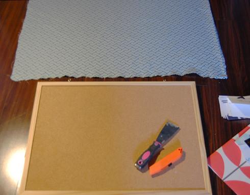 fabric covered cork bulletin board