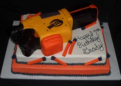"Nerf Gun birthday cake • <a style=""font-size:0.8em;"" href=""http://www.flickr.com/photos/60584691@N02/5524768439/"" target=""_blank"">View on Flickr</a>"