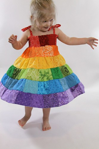 Rainbow Patchwork Tiered Handmade Toddler Dress