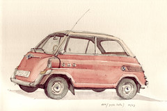 600 (groe Isetta) (Flaf) Tags: colour water car pencil munich mnchen drawing bmw florian fahrzeug bayerische isetta grose neuhausen motoren 1960er werke rotkreuzplatz 1950er afflerbach nibelungenstrase