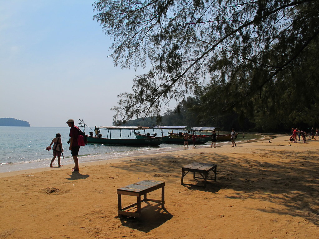 Beach and boats, Koh Russei, Sihanoukville, Cambodia