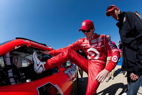 Scott Dixon climbs into a Stock Car