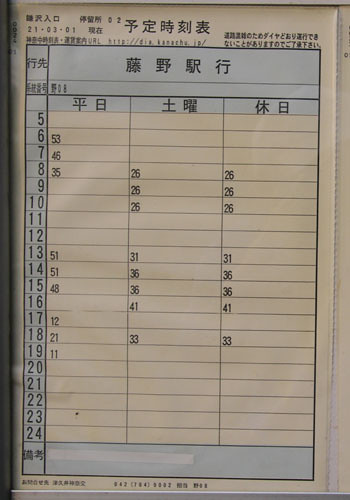 鎌沢入口発-藤野駅行きのバスの時刻表