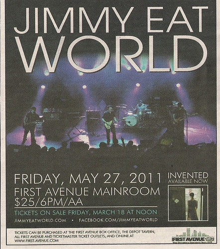 05/27/11 Jimmy Eat World @ First Avenue, Minneapolis, MN (Ad)