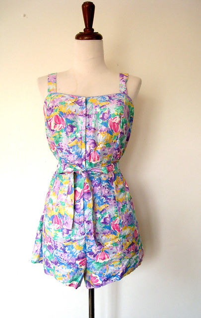 Garden of Bright Cotton Floral Romper, vintage 60's