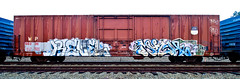 Revel Much (TheHarshTruthOfTheCameraEye) Tags: california train graffiti much hm northern freight revel benching