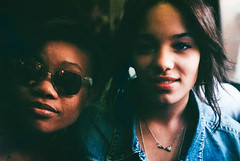 Zurah and Janai (Amira Rosenbush) Tags: friends portrait film brooklyn night canon spring eyes pretty weekend shades posted friday chill