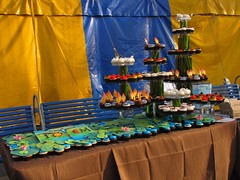 totem14 (Polka Dot Bake Shop: Sweet Potato Crackers) Tags: show blue red orange white black flower color green cakes hat yellow cake shop night silver butterfly logo table gold star soleil cupcakes day baker purple display awesome tiger feather pad totem du tent polka dot frog sparkle cupcake bakery lilly icing swirl bake cirque cirquedusoleil fondant polkadotbakeshop