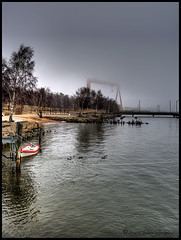 Foggy (johanbe) Tags: winter mist tree water göteborg boat gothenburg foggy hdr båt dimma eriksbergskranen