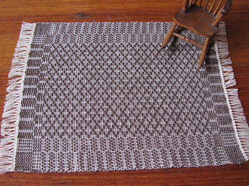 Large  Dollhouse Miniature Handwoven Walnut Rug