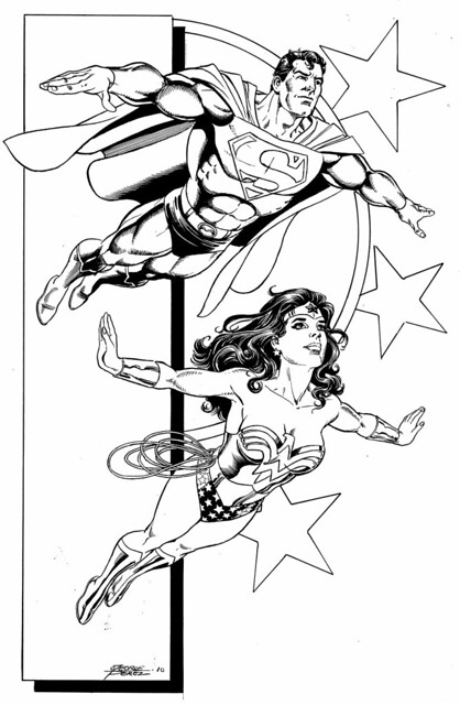 Superman and Wonder Woman 2010 commission by George Perez