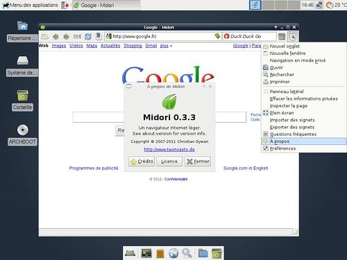 Midori 0.3.3 sous xfce 4.8.1