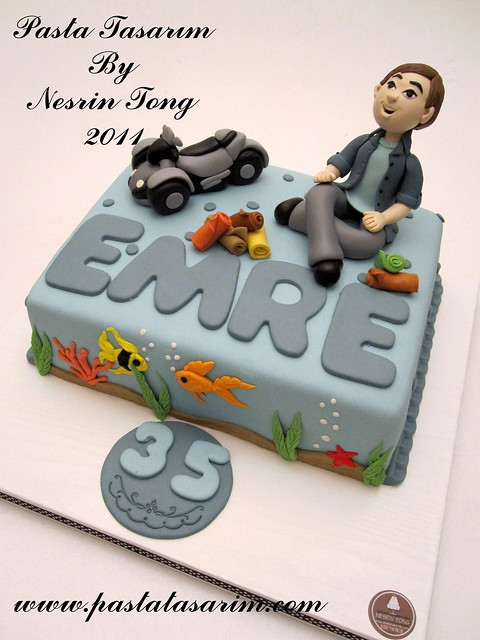 SPIDER MOTORBIKE AND 35TH BIRTHDAY CAKE - EMRE BIRTHDAY