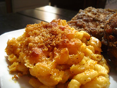 Spicy Fried Chicken with Baked Macaroni & Cheese (KAC NYC) Tags: chicken cheese pepper corn chili spice egg salt cream ground powder sage sharp wash spices american elbow oil garlic flour heavy fried paprika cheddar parmesan macaroni dredge baked nutmeg breadcrumbs kac spiced phude kacnyc phudenyc