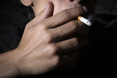 Smoke Break (d.winborne) Tags: smoking cigarette light off camera flash smoke break close up