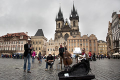 Old town square, Prague (kBandara) Tags: canon5d canonef24105l prague streetmusicians gothicchurch churchofourladybeforetn