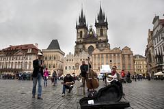 Old town square, Prague (kBandara) Tags: canon5d canonef24105l prague streetmusicians gothicchurch churchofourladybeforetýn