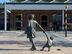 Sculpture in Blackburn (Tony Worrall) Tags: england northern uk update place location north visit area county attraction open stream tour country welovethenorth northwest unitedkingdom blackburn statue made bronze sculpture nice publicart woman child urban outdoors