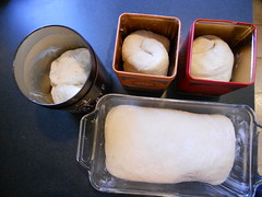 Dough in cooking vessels