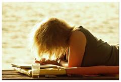 golden letter (micagoto) Tags: ocean woman topv111 female writing hair mare cellphone blond blonde letter writer d7000