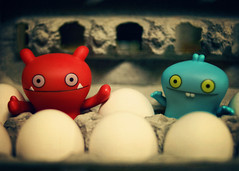 Two bad eggs (Irene2005) Tags: food 35mm tiny eggs monsters scavengerhunt cliche uglydolls eggcarton babo wage week5 f20 primelens twobadeggs nikond90 uglysaturdays clichesaturday