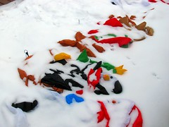 Snowbound and deflated (silverfuture) Tags: santa decorations snow reindeer penguin snowman sad logansquare inflatables dejected drift holidayspirit deflated
