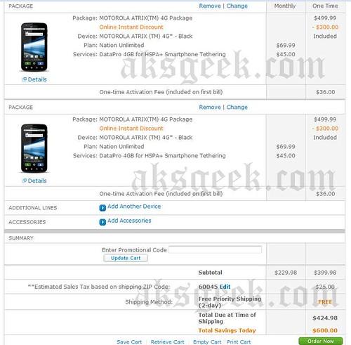 Motorola Atrix 4G pre-order Bill