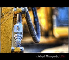 Yellow and blue - HDR - Pentacon 135 mm f 2,8 (Margall photography) Tags: canon vintage lens photography bokeh f valve m42 oil marco 28 mm 135 pentacon cuneo hdr manfrotto excavator monopod 30d galletto margall