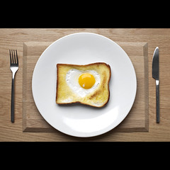 410/730: For the love of lunch (Mr. Flibble) Tags: food yellow bread oak heart toast egg knife plate fork valentine friedegg valentinesday yolk