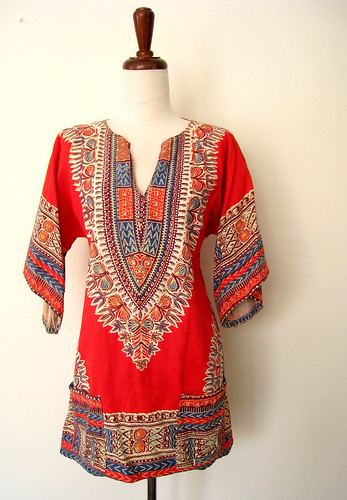 Bright Red Batik BohoTunic Dress, vintage 70's