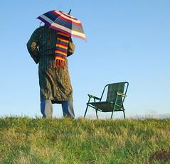 Distant (Michaelasixfive) Tags: umbrella deckchair stripe riverbank distant facebook scalf
