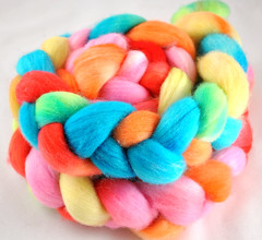 WSK 'saltwater taffy' on polwarth fiber :Charity Auction: