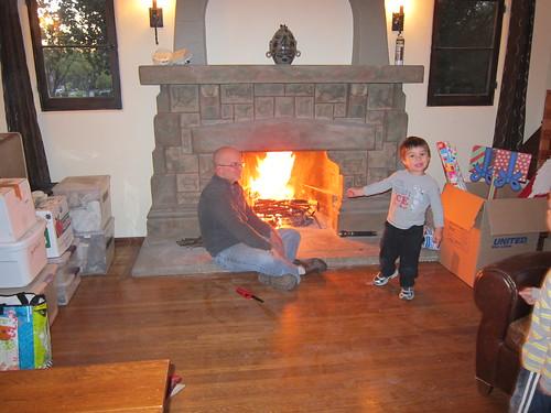 First fire - Finn shows off their handiwork