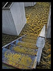 Stairway to... the Beach. (Il.Falco) Tags: wood sea beach stairs photoshop canon coast sand belgium belgi stairway oostende bel hdr highdynamicrange ostend hdri topaz canonpowershot cabine sx20 vlaanderen ilfalco photomatix dfine tonemapped tonemapping tonemap highdynamicrangeimage denoise colorefex cs5 niksoftware detailenhancer procontrast sharpenerpro silverefex topazadjust svenbauwens