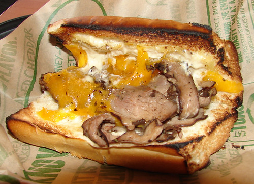 Quiznos Prime Rib on Garlic Bread Innards