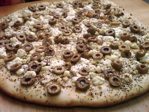Garlicky Green Olive Pizza
