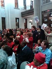 Protesters inside the atrium