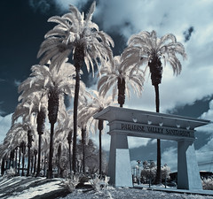 Paradise Valley Sanitarium (x-ray tech) Tags: california blue sky favorite white color beautiful yellow cali clouds composition wow ir gold is interestingness cool nice interesting fantastic mod flickr different view spectrum notes sandiego superb very map unique oneofakind awesome text group picture award best fave explore palmtrees filter stunning excellent infrared handheld modified converted network contact title capture information viewing breathtaking comment exciting algorithm topten outstanding sanitarium patent phenomenal goodphoto nationalcity imagestabilizer paradisevalleyhospital camerainfo canoneosdigitalrebelxti exifdata efs1755f28is increaseviews 18mmf81250