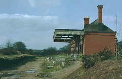 Wombourne Railway Station, April 1980 (Lady Wulfrun) Tags: abandoned overgrown station br footbridge railway trains railwaystation canopy 1980 1980s railways staffordshire wrecked platforms redbrick disrepair vandalised gwr trackbed april1980 wombourne northward beeching wombourneline wombournerailway