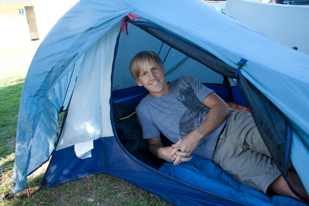 Drew inside our tent