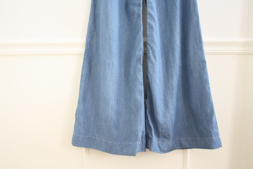 sewing saturday! wide legged chambray trousers